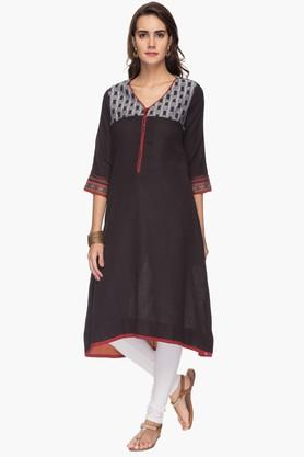 BIBA Womens V Neck High Low Printed Kurta