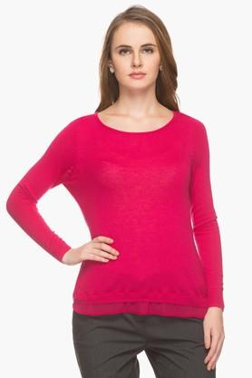 EXCLUSIVE LINES FROM BRANDS Womens Round Neck Solid Pullover