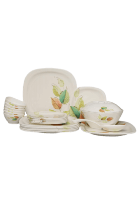 Square Dinner Set - Bay Leaves (Set Of 22)