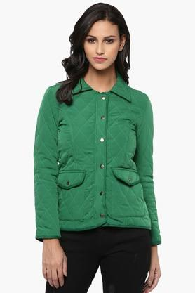 THE VANCA Womens Solid Quilted Collared Jacket