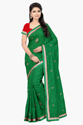 DEMARCAWomens Embroidered Saree (Buy Any Demarca Product & Get A Pair Of Matching Earrings Free) - 201151673_9463