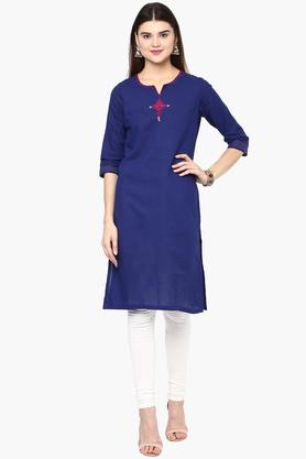 RANGRITI Womens Round Neck Embroidered Solid Kurta - 201505060