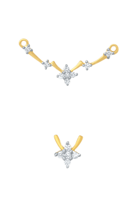 Mahi CZ Collection Gold Plated CZ Mangalsutra Earrings and Pendant Pendant for Women - PS1191950G