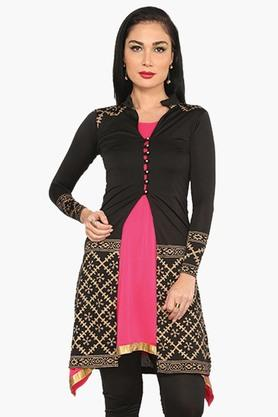 IRA SOLEILWomens A Line Fit Printed Kurta With Jacket