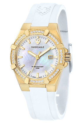 SWISS EAGLE Ladies Watch With White Rubber Strap And Round Dial - 6041-05