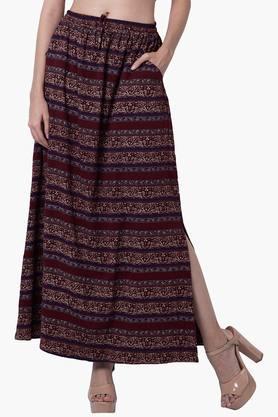 FABALLEYWomens Printed Maxi Skirt