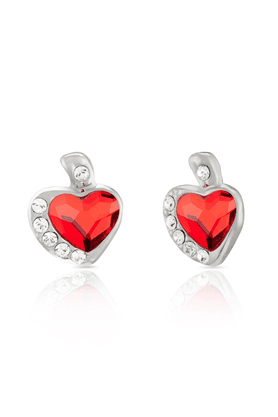 MAHI Mahi Rhodium Plated Red And White Heart Earrings Made With Swarovski Elements For Women ER1194116RRed