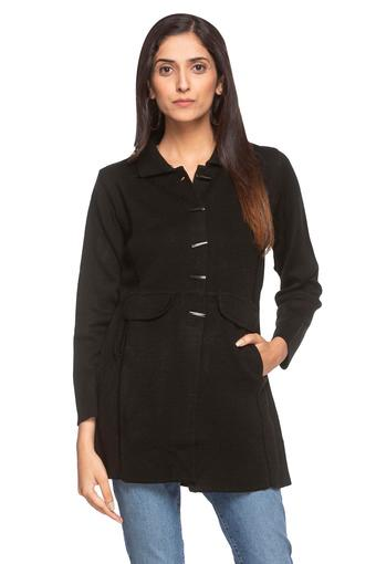 Womens Solid Long Coat