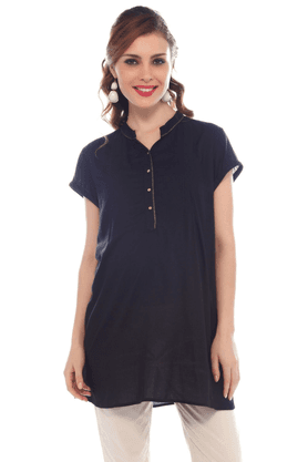 NINE MATERNITY Maternity Black Tunic With Golden Twill Tape At Collar And Placket