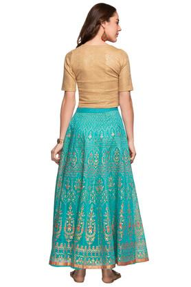 Womens Round Neck Shimmer Top and Skirt Set