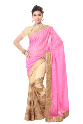 DEMARCAWomen Georgette Saree (Buy Any Demarca Product & Get A Pair Of Matching Earrings Free) - 200875703