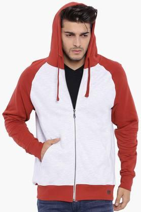 BLUE SAINT Mens Hoodie With Contrast Raglan Sleeves
