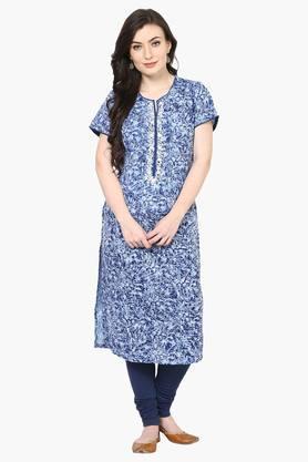 Women Poly Cotton Straight Kurta - 202359216
