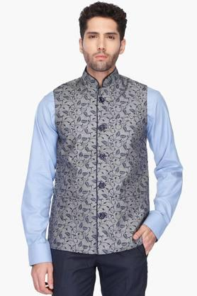 VETTORIO FRATINIMens Mao Collar Printed Nehru Jacket - 201590447