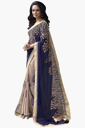 DEMARCA Womens Chiffon Embroidered Saree