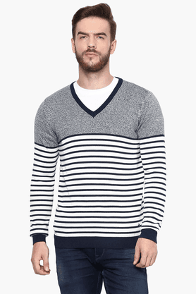 CELIO Mens Full Sleeves V Neck Straight Fit Stripe Sweater