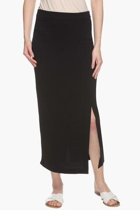 STOP Womens Solid Slitted Skirt