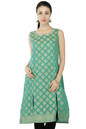 KASHISH Women Chanderi Printed Sleeveless Kurta