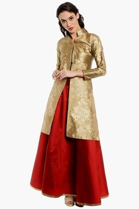 IRA SOLEIL Women Gold Print Jacket And Skirt Set