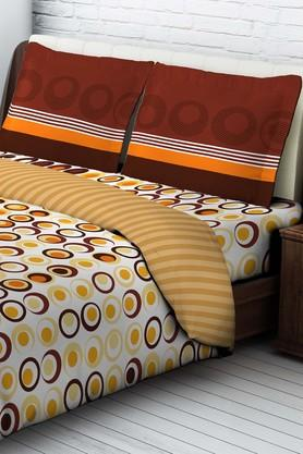 TANGERINE Polyester Double Printed Bed Sheet With Pillow Cover  ... - 202189421