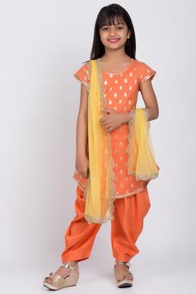 BIBA GIRLS - OrangeSalwar Kurta Set - 2