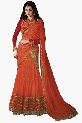 MAHOTSAVWomens Lace-accented Semi-stitched Lehenga Choli