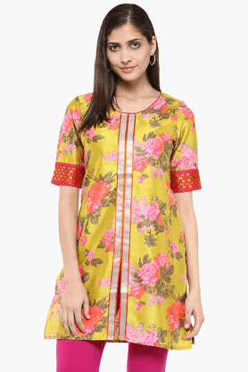 FUSION BEATS Womens Slim Fit Printed Tunic - 201553209