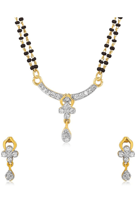 MAHI Mahi Gold Plated Cubic Zirconia Studded Mangalsutra For Women NL1101487G
