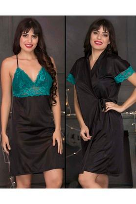 Womens Lace Night Dress and Solid Robe Set