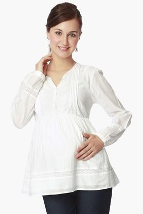 NINE MATERNITY Womens V Neck Solid Tunic