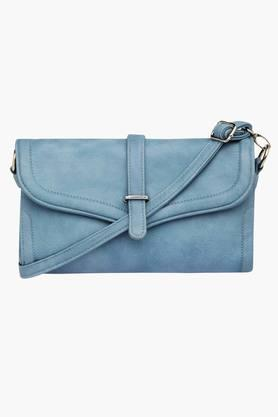 Womens Snap Closure Solid Sling Bag