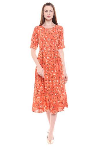 GLOBAL DESI -  RustEthnic Dresses - Main