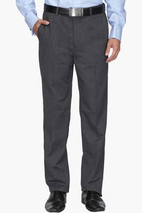 WILLS LIFESTYLE Mens Regular Fit 4 Pocket Slub Formal Trousers
