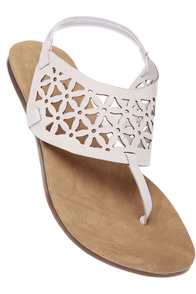 INC.5 Womens White Toned Flat Sandal