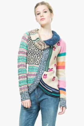 DESIGUALWomens Collared Printed Jacket