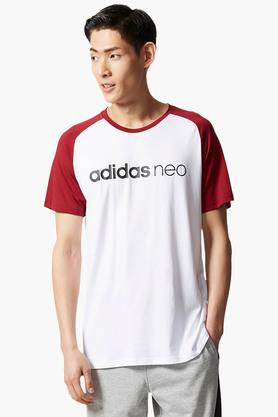 ADIDAS Mens Round Neck Colour Block T-Shirt