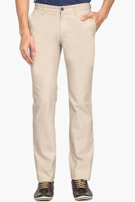INDIAN TERRAIN Mens Regular Fit 4 Pocket Solid Trousers (Kansas Fit)