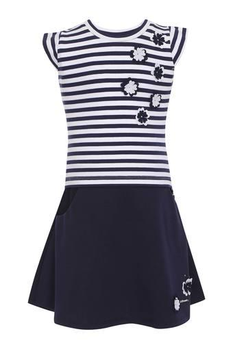 Girls Round Neck Stripe Applique Top and Skirt Set