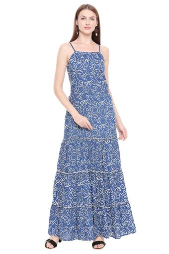 Womens Strappy Neck Printed Tiered Maxi Dress