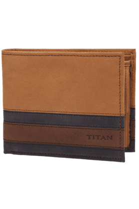 TITAN Mens Tan Flap Leather Wallet