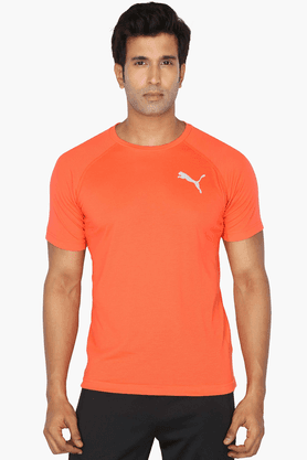 PUMA Mens Round Neck Short Sleeves Solid T-Shirt