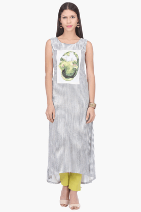 W Womens A Line Fit Sleeveless Stripe Kurta - 201412402