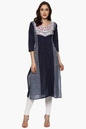 BHAMA COUTURE Women's Notched Cotton Printed Kurta