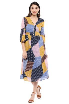 Womens V Neck Printed A-Line Dress