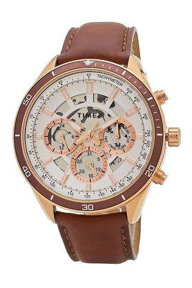 Mens White Dial Leather Multi-Function Watch - TWEG15211