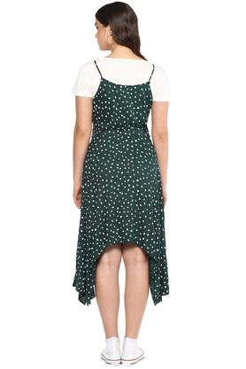 Womens Round Neck Printed Asymmetrical Dress