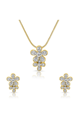 MAHI Mahi Gold Plated Elegant Feminity Pendant Set Of Brass Alloy With Crystal For Women NL1101705G