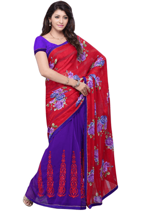 DEMARCA De Marca Red::Purple Jacquard::Georgette Designer DF-426A Saree