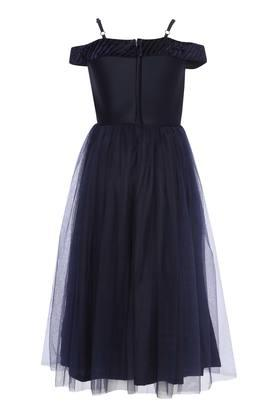 Girls Strappy Neck Lace Applique Flared Dress