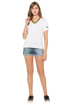 Womens V-Neck Solid T-Shirt